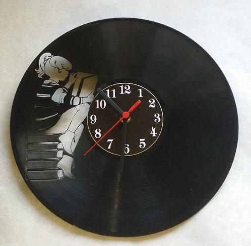 Relógio de parede em disco de vinil Leitura