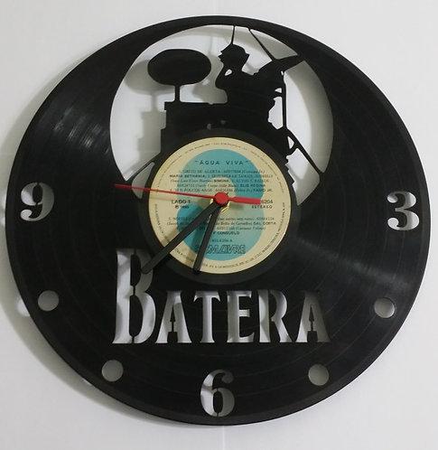 Relógio de parede em disco de vinil Bateria