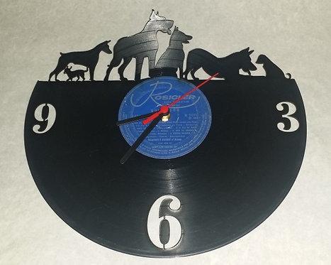 Relógio de parede em disco de vinil Cães