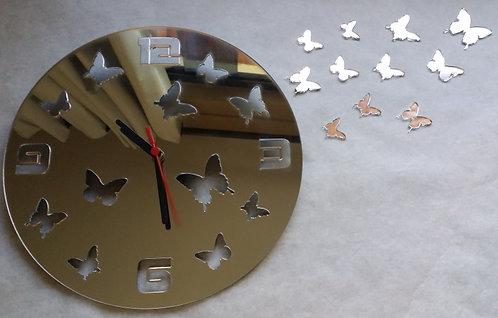 Relógio de parede em acrílico espelhado Borboletas