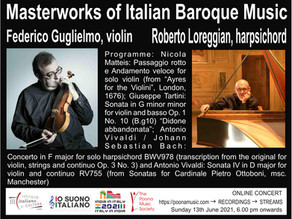 Masterworks of Italian Baroque Music - Online Concert with Federico Guglielmo & Roberto Loreggian