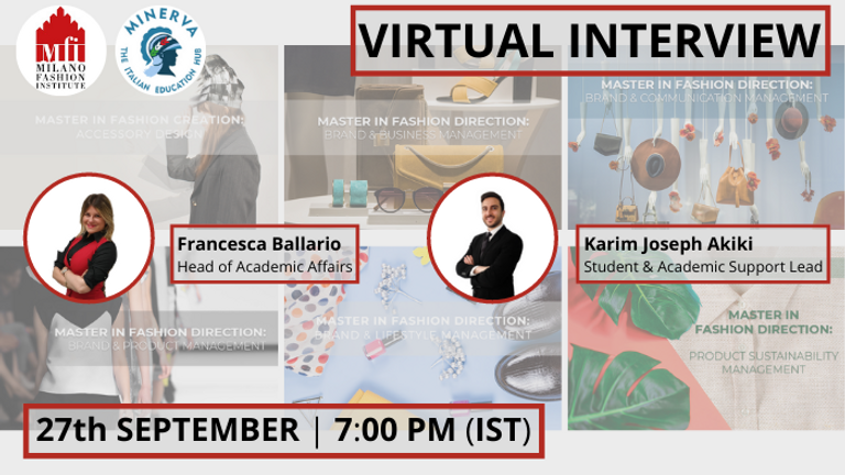 Join the Virtual Interview & evaluate your candidature for MFI's Masters: Intake Jan2022