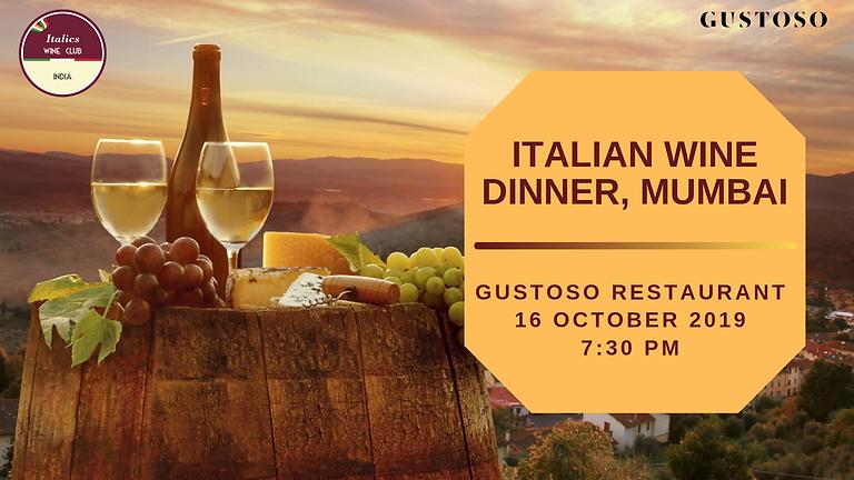 Italian Wine Dinner | Gustoso, Mumbai | 16 October 2019