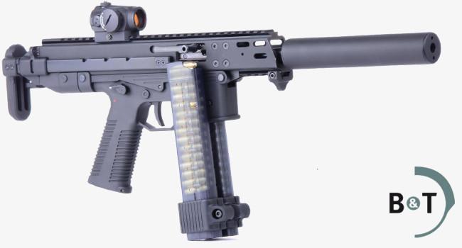 карабин B&T GM9 Compact с телескопическим прикладом, коллиматорным прицелом, глушителем и набором магазинов