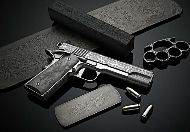 Пистолет Cabot Guns Damascus Ladder Deluxe из дамасской стали