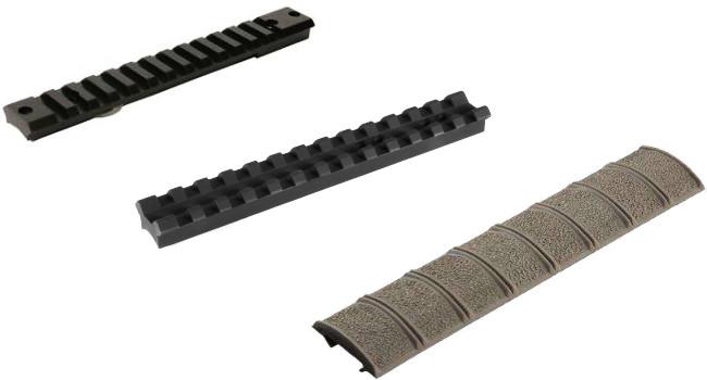 слева-направо: оригинальная планка picatinny, модифицированная picatinny и накладка