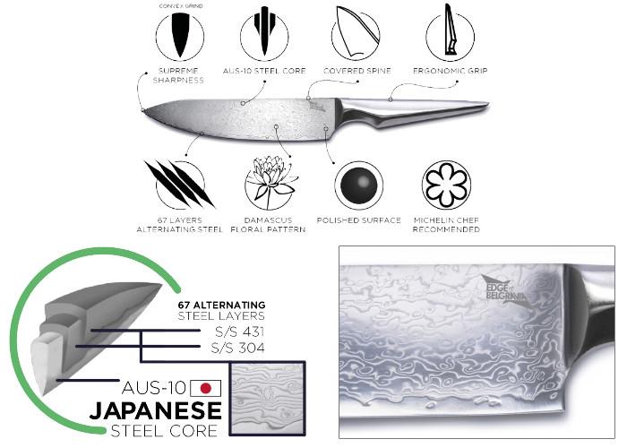 Набор кухонных ножей Edge of Belgravia Shiroi Hana