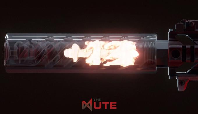 пороховые газы в оружейном глушителе The Mute