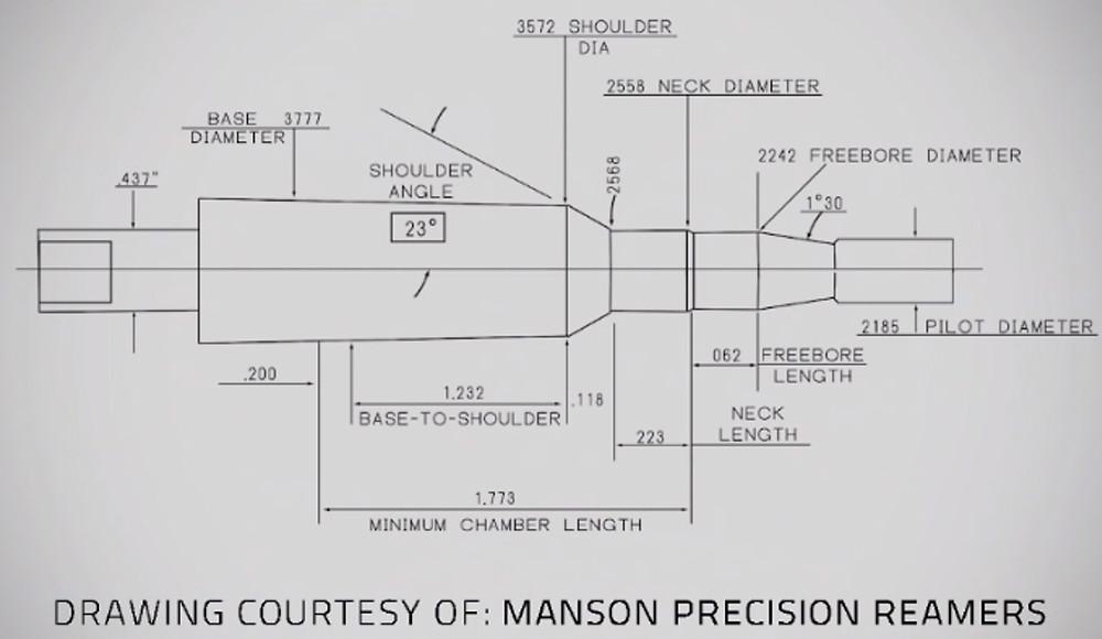чертеж получаемого патронника при использовании развертки Manson Precision .223 Wylde