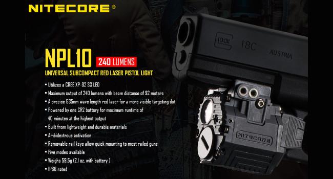 Первый тактический оружейный фонарь Nitecore NPL10
