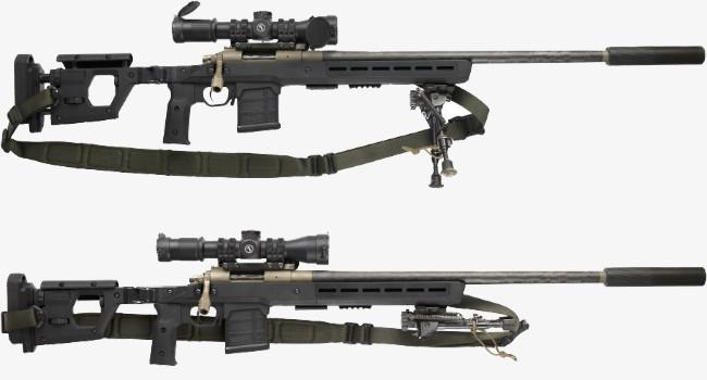 ложа-шасси Magpul Pro 700 с установленными сошками, оружейными составляющими, прицелом, креплением и ремнем с антабками