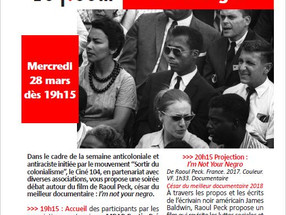 "le 28 mars à 20h - Projection-Débat  ""I AM NOT YOUR NEGRO"" de Raoul Peck (César du Meilleu"