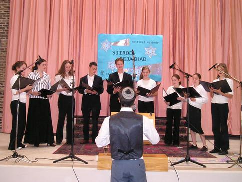 Conducting the youth choir at Shiru Beyachad Song Festival