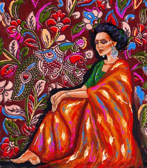 Pensive amidst colors.