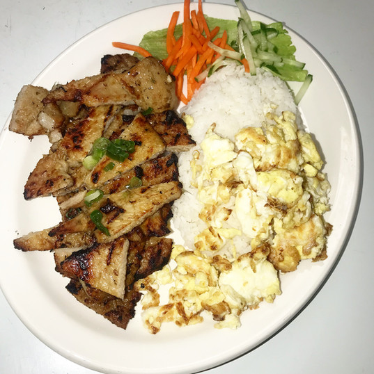 Grilled Pork on Rice (Adding Eggs )