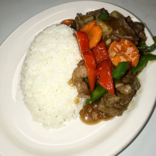Beef and Pineapples on Rice