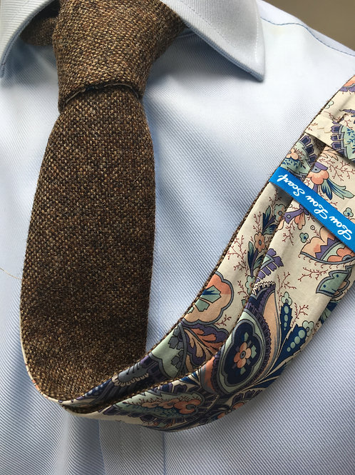 Country Brown Shetland Twill with Liberty Pale Paisley Tana Lawn