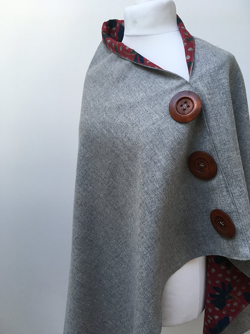 Silver Grey Merino Lambswool with Red Sun Daisy Tana Lawn