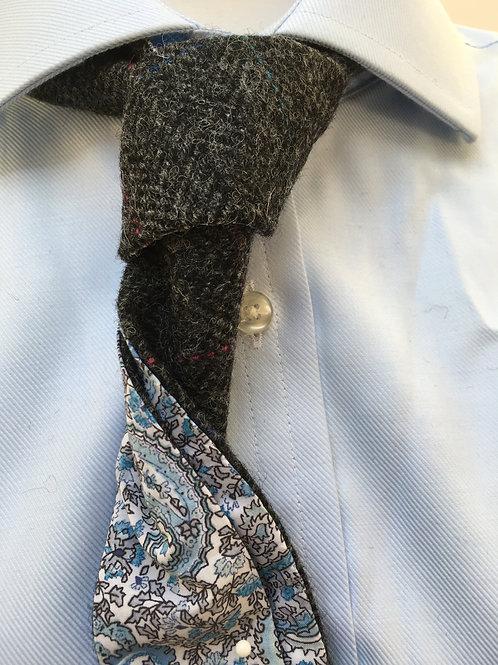 Grey Check Shetland Herringbone Twill with Liberty Blue Paisley Tana Lawn
