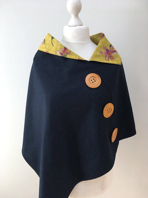 Dark Blue Merino Lambswool with Yellow Sun Daisy Tana Lawn