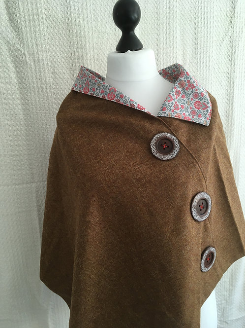 Camel Shetland with Liberty Pink Tana Lawn Flower