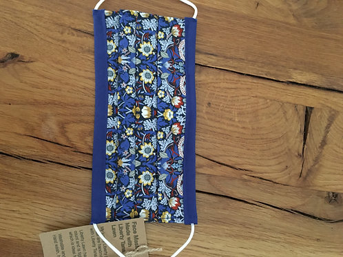 Liberty Tana Lawn Face Mask Blue Strawberry Thief