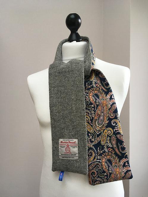 Harris Tweed Grey and Blue, Mustard Paisley