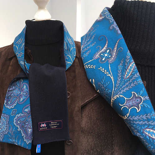 Navy Blue Merino Lambswool with Blue Lady Paisley Tana Lawn