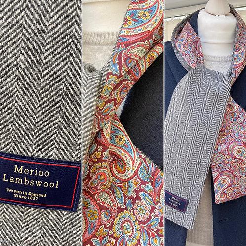 Grey Herringbone Merino Lambswool with Liberty Lee Manor Tana Lawn