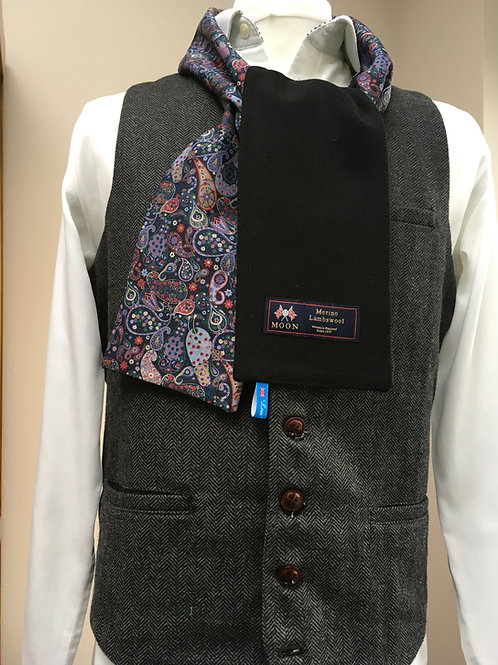 Black Merino Lambswool with Purple Paisley Tana Lawn