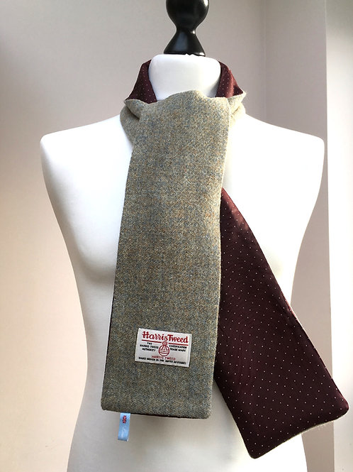 Harris Tweed Duck Egg and Burgundy Polkadot