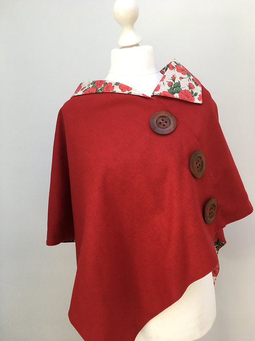 Warm Red Merino Lambswool with Red Carline Rose Tana Lawn