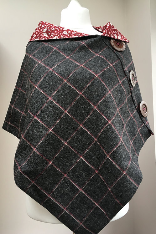 Grey and Pink Tweed, Red and White Leaf