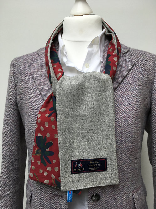 Silver Grey Merino Lambswool with Sun Daisy Red Tana Lawn