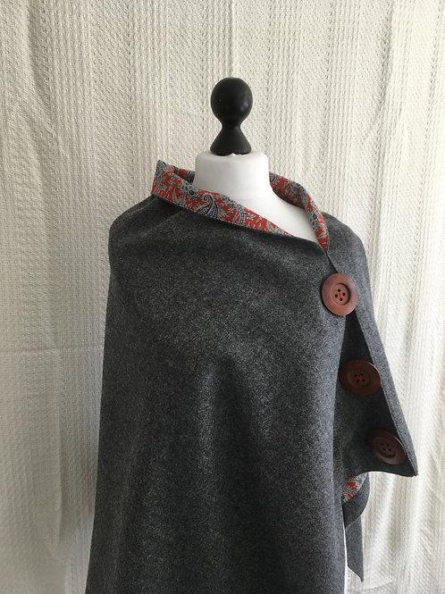Dark Grey Shetland Shawl with Liberty Red Tana Lawn Paisley