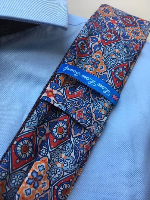 Dark Grape Shetland Plain Weave Twill with Liberty Blue/Red Diamonds Tana Lawn
