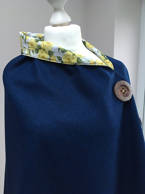 Bright Blue Merino Lambswool with Liberty Tana Lawn Yellow Rose