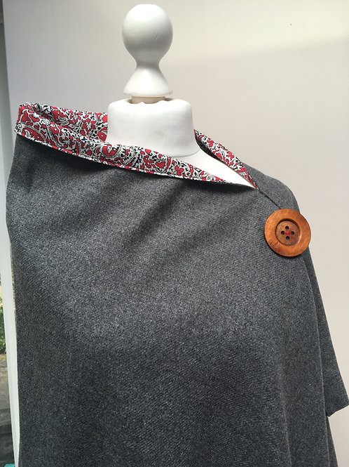 Grey Merino Lambswool with Liberty Tana Lawn Red Lagos