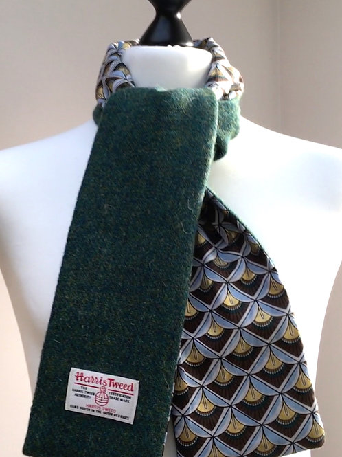Harris Tweed Dark Green and Blue/gold Fan