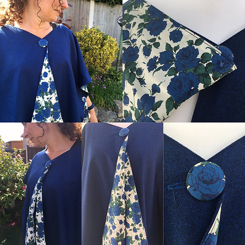 Bright Blue Merino Lambswool with Blue Carline Rose Tana Lawn