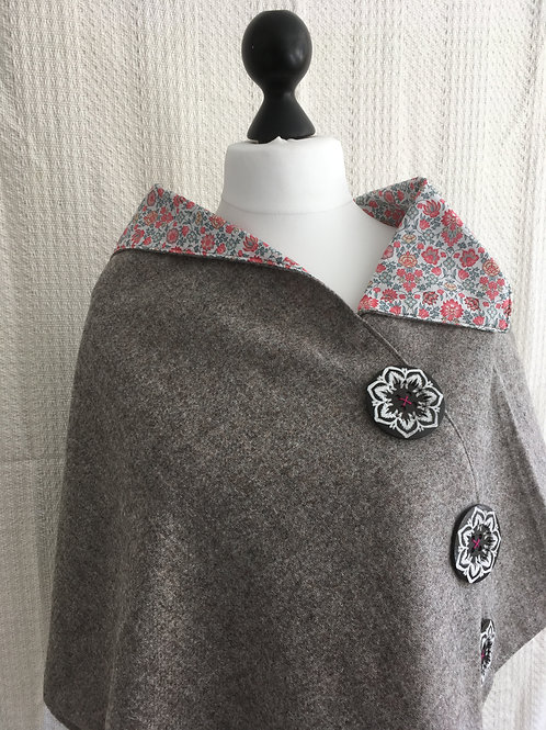 Light Grey Shetland with Liberty Pink Tana Lawn Flower