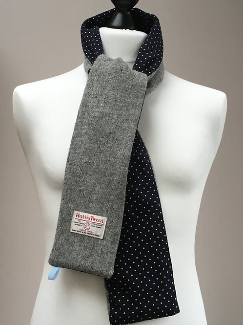 Harris Tweed Grey and Navy Polkadot