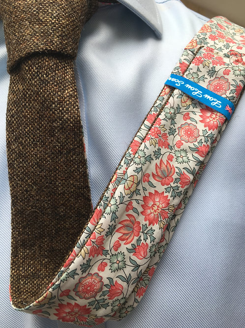 Country Brown Shetland Twill with Liberty Rose/Grey Flower Tana Lawn