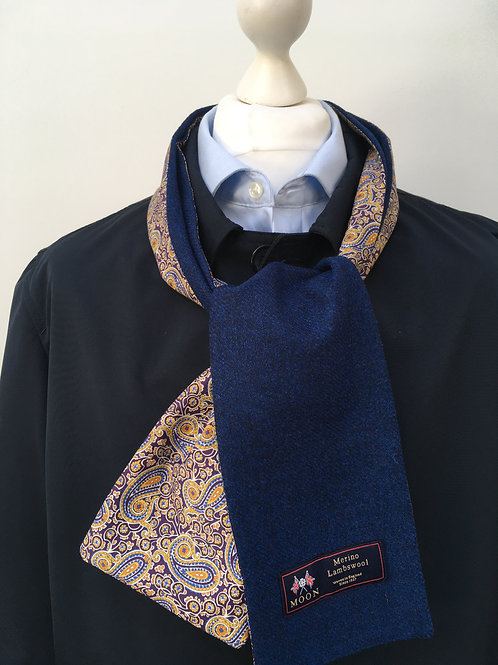 Blue Merino Lambswool with Henry Paisley