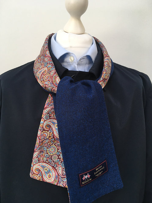 Blue Merino Lambswool with Red Lee Manor Paisley