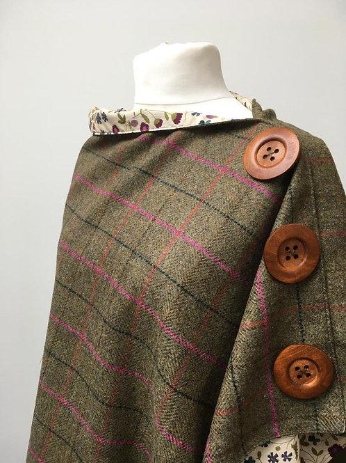 Check Tweed Green/Pink Shetland Shawl with Liberty Mirabelle Tana Lawn