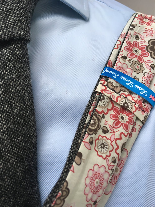 Grey Shetland Plain Weave Twill with Liberty Red Flower Tana Lawn