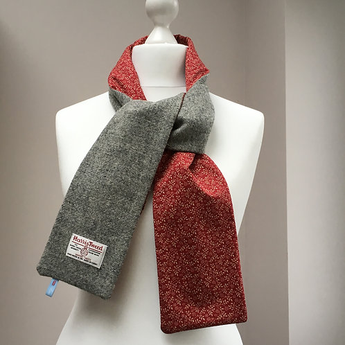 Harris Tweed Grey and Gold/Red Flower