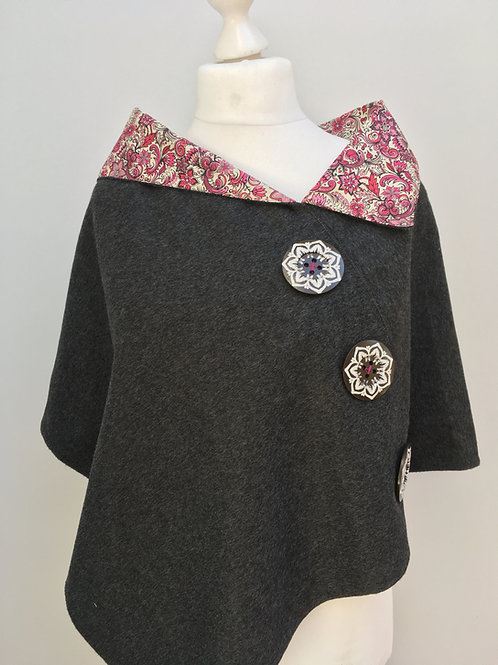 Charcoal Merino Lambswool with Pink Floral Tana Lawn