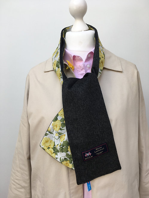 Charcoal Merino Lambswool with Yellow Carline Rose